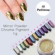12 Color Chrome Mirror Powder Gold Pigment Ultrafine Powder Dust Nail Glitters Nail Sequins Nail Art Decorations 1g