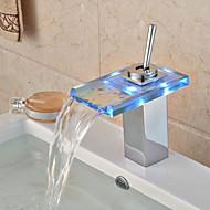 עכשווי כלי LED / מפל / מגע/ללא מגע with  שסתום פליז חור ידית אחת אחת for  כרום , ברז לאמבטיה / ברז מטבח / חדר רחצה כיור ברז