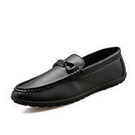 Men's Boat Shoes Fall Flats Leather Casual Flat Heel Others Black / Blue / White / Orange Walking