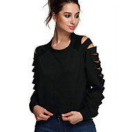 Women's Casual/Daily Street chic Spring / Fall T-shirt,Solid Round Neck Long Sleeve White / Black Cotton / Rayon Thin