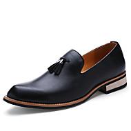 メンズ 靴 レザー 春 秋 ローファー&スリップアドオン タッセル 用途 カジュアル ブラック イエロー バーガンディー