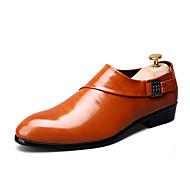 גברים-נעלי אוקספורד-PUשחור חום בורגונדי-יומיומי-עקב שטוח