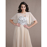 Women's Wrap Capelets Sleeveless Chiffon Champagne Wedding / Party/Evening Scoop Beading / Draped Hidden Clasp
