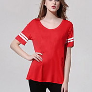 Women's Casual/Daily Simple Summer T-shirt,Solid Round Neck Short Sleeve Red Polyester Opaque