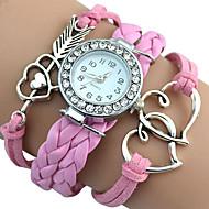 Popular Girl's Infinity Love Heart Braided Quartz Faux Leather Bracelet Charm Watches