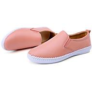 Unisex-Loafers & Slip-Ons-Lässig-Leder-Flacher Absatz-Komfort-Schwarz Rosa Weiß