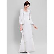 Lanting Bride® Eng anliegend Übergröße / Zierlich Brautmutterkleid - Wickeltuch inklusive Boden-Länge Lange Ärmel Chiffon -