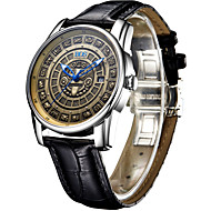 AngelaBOS Men's Dress Watch Fashion Watch Mechanical Watch Automatic self-winding Luminous Leather Band Cool Casual Black