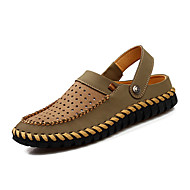 Men's Sandals Summer Flats Office & Career / Casual Flat Heel Braided Strap Brown / Khaki Others
