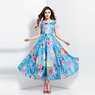 BORME® Damen Quadratischer Ausschnitt Ärmellos Wadenlänge Kleid-Z117