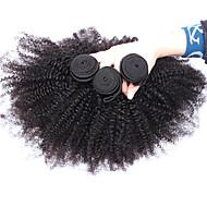 3db csomó 8-26 hüvelykes feldolgozatlan mongol szűz haj természetes fekete színű afro perverz göndör emberi haj sző