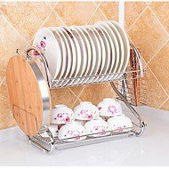 2 Tier Chrome Plate Dish Cutlery Cup Drainer Rack Drip Tray Plates Holder Silver Kitchen Storage Shelf