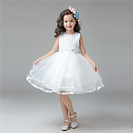 A-line Knee-length Flower Girl Dress - Cotton / Satin / Tulle Sleeveless Jewel with Beading / Flower(s) / Lace
