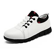 Dame-Lær-Flat hæl-Komfort-Flate sko-Fritid-Svart Rød Hvit
