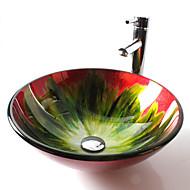 Zeitgenössisch T12*Φ420*H145MM Rundförmig Sink Material ist HartglasWaschbecken für Badezimmer / Armatur für Badezimmer / Einbauring für