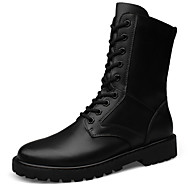 Men's Combat Boots Leather Outdoor Flat Heel Lace-up Black Snow Boots EU38-45