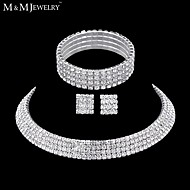 Women's Four Row Full Crystal Choker Necklace Tennis Stretch Bracelet  Stud Earrings Wedding Jewelry Set(1 Set)