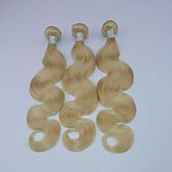 3pcs / lot brazylijski dziewiczy włosy włosy fala ludzki włosy splot 10-30inches kolor 613 27 blond włosy przedłużanie włosów