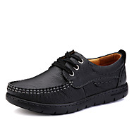 Women's Oxfords Spring / Fall Comfort / Round Toe Leather Outdoor / Casual Flat Heel Others / Lace-up Black / Brown
