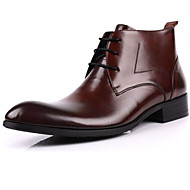 Men's Boots Winter Bootie / Pointed Toe Nappa Leather Casual Low Heel Lace-up Black / Brown / Yellow Others