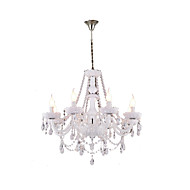 Chandelier White Crystal Modern Living 8 Lights