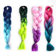 Cosplay Wig Color Chemical Fiber Braid African Black Wig  Two Color Gradient 22 Inch 1pcs
