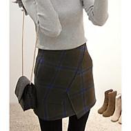 Women's Plaid Blue / Black Skirts,Simple Above Knee