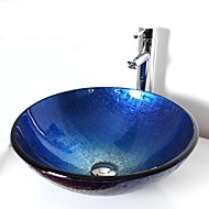Modern T12*Φ420*H145MM Rond sink Materiaal is Gehard Glas Badkamer Wastafel / Badkamer Kraan / Badkamer Montagering / Badkamer Waterafvoer