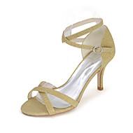 Feminino-Sandálias-Sandálias-Salto Agulha-Preto / Azul / Vermelho / Prateado / Dourado-Gliter-Casamento / Festas & Noite