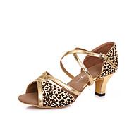 Na míru-Dámské-Taneční boty-Latina / Salsa-Kůže-Vysoký úzký-Černá / Zlatá / Leopardí