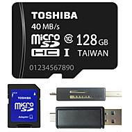 טושיבה 4GB / 8GB / 64GB / 128GB בכיתה 10 כרטיס זיכרון מיקרו SD TF עם מתאם SD ו- USB OTG פונקציה רב קורא כרטיסים