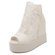 Women's Platform Wedge Mesh Open Toe Lace Up Creeper Sandals