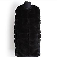 Rund hals Uden ærmer Medium Kvinders Beige / Sort Ensfarvet Efterår Simpel Plusstørrelser Pelsfrakke,Imiteret pels