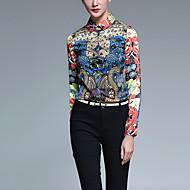 Polyester Rød Medium Langermet,Skjortekrage Skjorte Trykt mønster Alle sesonger Vintage Fritid/hverdag Dame