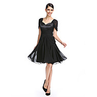 Cocktail Party Dress A-line Queen Anne Knee-length Chiffon with Criss Cross / Ruching