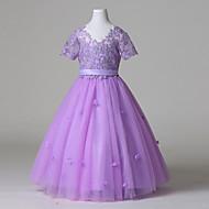 Ball Gown Floor-length Flower Girl Dress - Tulle Short Sleeve V-neck with Lace