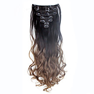 Quality Wavy Curly Clip In Extension 7Pcs/set 16 Clips De Cheveux Ombre Hair Extensions Dark Brown to Brown 130g