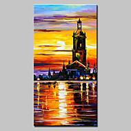 Pintados à mão Abstracto / Paisagem / Paisagens Abstratas Pinturas a óleo,Modern / Estilo Europeu 1 Painel TelaHang-painted pintura a