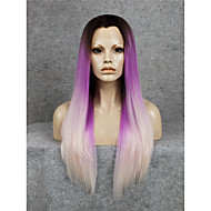 IMSTYLE 24New Arrival Purple Ombre Fashion Straight Synthetic Lace Front Wig