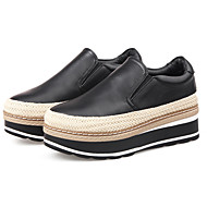 נשים-נעליים ללא שרוכים-עור-נוחות-שחור / כסוף-קז'ואל-עקב שטוח