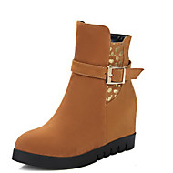 Women's Zipper Round Closed Toe High Heels Imitated Suede Low Top Boots