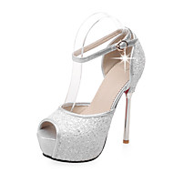 Women's Sandals Spring Summer Fall Other Synthetic Wedding Party & Evening Dress Stiletto Heel Platform Rhinestone Sequin Pink White Gold