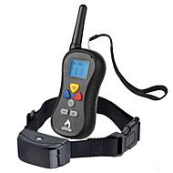 Psi kora Ovratnik Ogrlice za treniranje Anti Bark Vodootporno 300M Vibration Daljinsko upravljanje LCD Jednobojni Crn Najlon