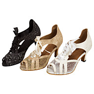 Customizable Women's Ballroom Dance Shoes Sparkling Glitter Latin / Salsa Lace-up Dancing Shoes
