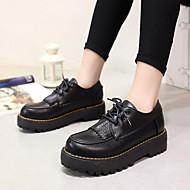 """נשים נעלי אוקספורד נוחות עור אביב סתיו קזו'אל נוחות עקב עבה שחור צהוב מתחת ל 2.54 ס""""מ"""