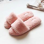Pantofle a Žabky-Flís-S páskem-Dámské-Růžová-Běžné-Plochá podrážka