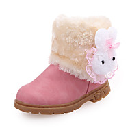Girl's Boots Fall Winter Fashion Boots PU Fur Outdoor Casual Flat Heel Brown Pink Red Walking