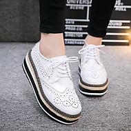 נשים-נעלי אוקספורד-עור-נוחות-שחור / לבן-קז'ואל-עקב שטוח