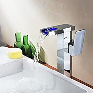 Contemporary Vessel Waterfall with  Ceramic Valve One Hole Single Handle One Hole for  Chrome , Bathroom Sink Faucet