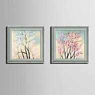 Kwiatowy/Roślinny Oprawione płótno / Zestaw w oprawie Wall Art,PVC (polichlorek winylu) Szary Nie zawiera podkładki z ramą Wall Art